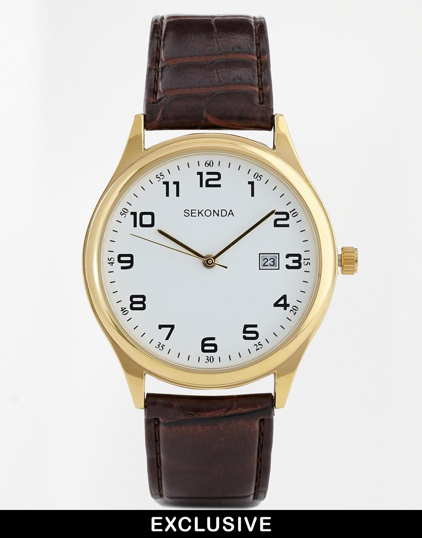 Sekonda Exclusive to ASOS Brown Leather Strap Watch 1031 at asos.com