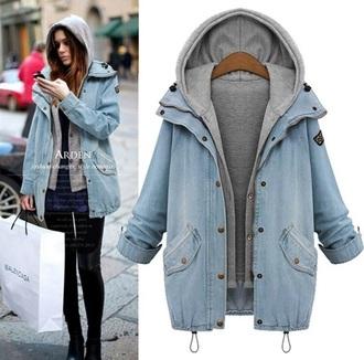 jacket grey blue denim jacket