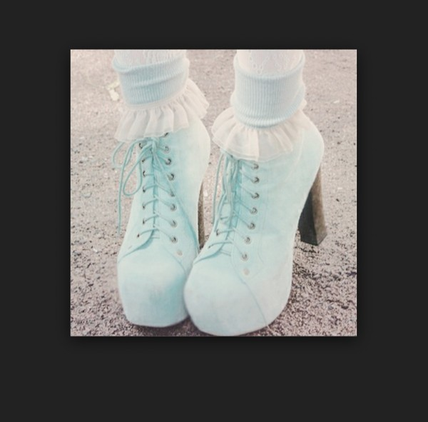 shoes mint pastelcolors high heels kawaii