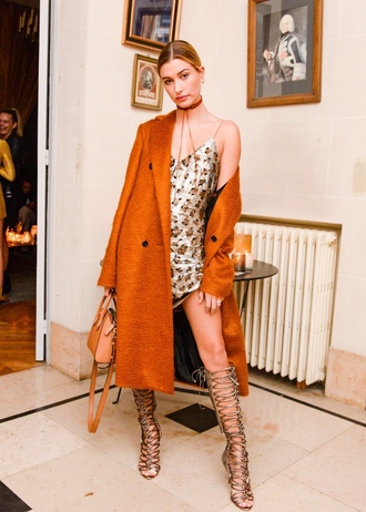 dress trench coat coat sandals hailey baldwin knee high gladiator sandals gladiators paris fashion week 2016 gold sequin dress shoes