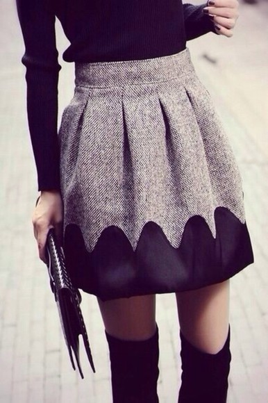 grey skirt grey and black black winter tights so cute cute fashion stylish