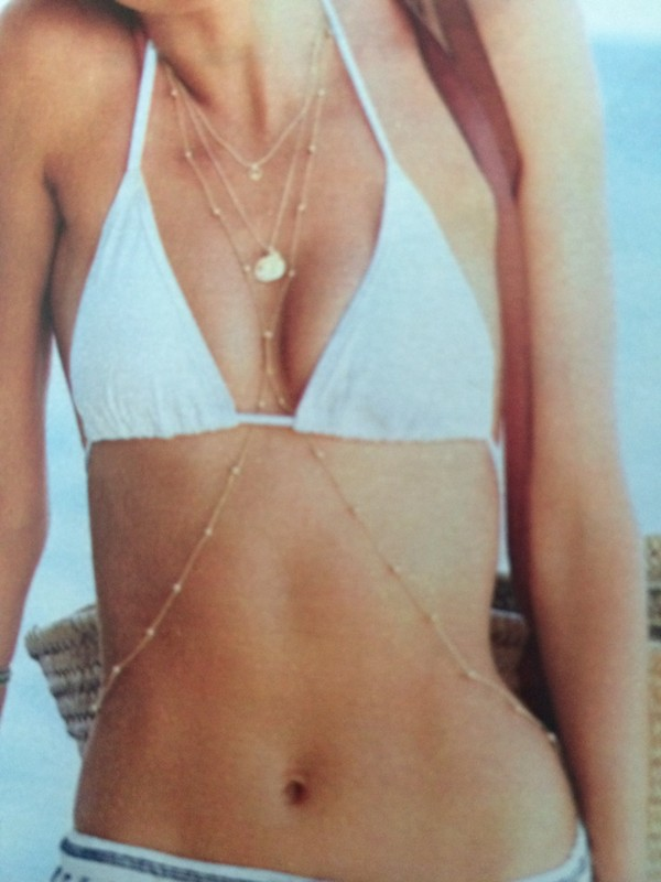 jewels jewerly body chain body chain necklace gold summer