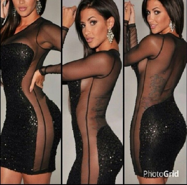 dress sequin sheer cutout black sexy