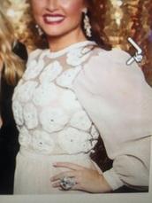 dress,white dress,floral dress,sheer,puffed sleeves