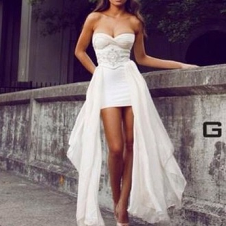 dress white prom silver sequin sexy dress high low dress prom dress girly dress