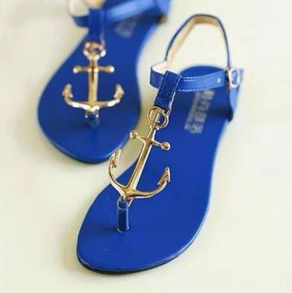 shoes blue shoes sandals anchor summer summer shoes lovely wheretoget? wheretogetit? where to get it? :) gold flipflops flat sandals blue flip flop fashion light blue flats cute sandals