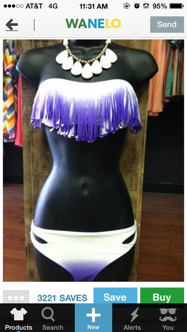 swimwear white and  purple fringe top