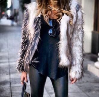 classy white jacket fur grey faux fake coat faux fur coat