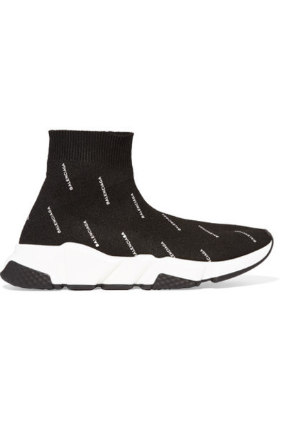 Balenciaga high sneakers black knit shoes