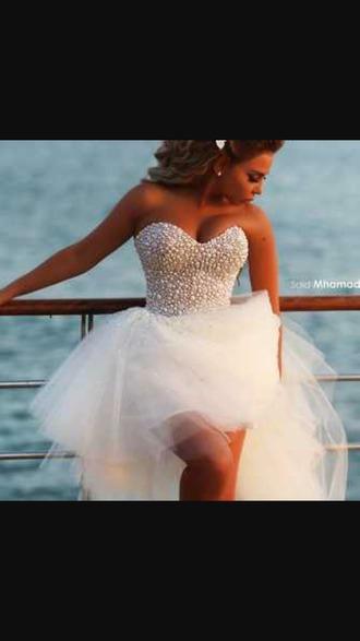 dress white pearls prom dress high low dress