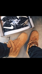 shoes,mens shoes,high top sneakers,wheat shoes,nike air force,tan,nike sneakers,suede,@maddie.is,brown,airfoce
