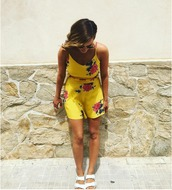 romper,yellow romper,yellow,floral,floral romper,flowers,pink flowers,white,white shoes,birkenstocks,sunglasses,shoes