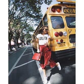 skirt tumblr white t-shirt t-shirt red skirt midi skirt pleated skirt sneakers white sneakers low top sneakers bag red bag sunglasses back to school graphic tee fall outfits