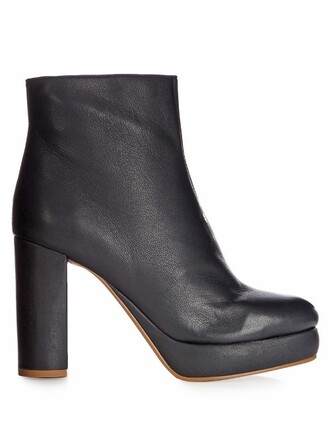 boots ankle boots leather navy shoes