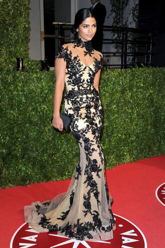dress camila alves black lace dresses zuhair murad high collar dress oscar dress