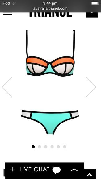 swimwear orange light blue piping neoprene bikini triangle poppy summer sorbet colour blocking