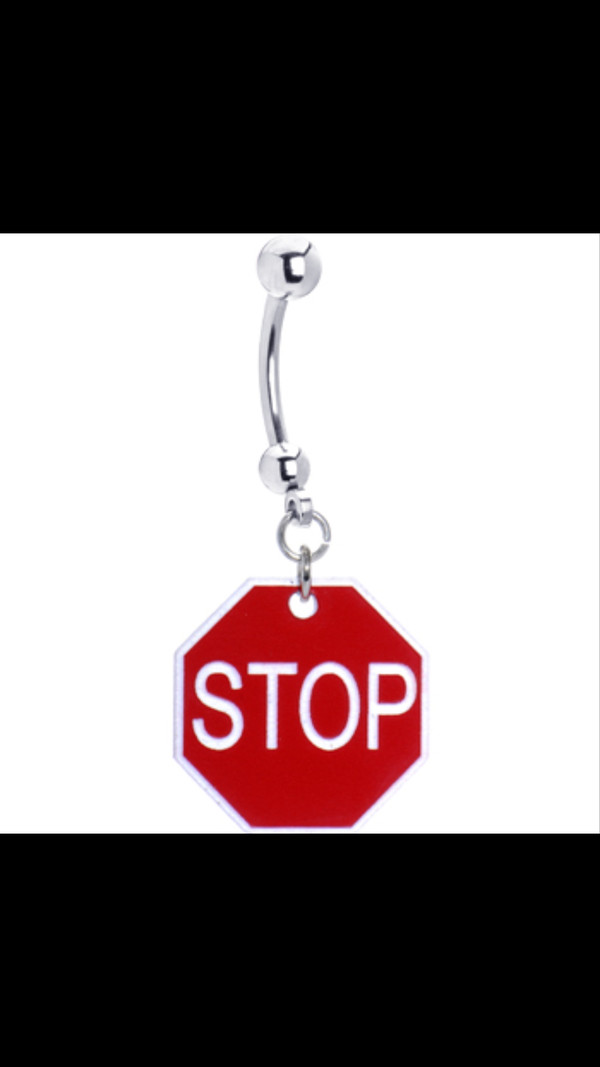 jewels red stop sigh belly button ring ring bag