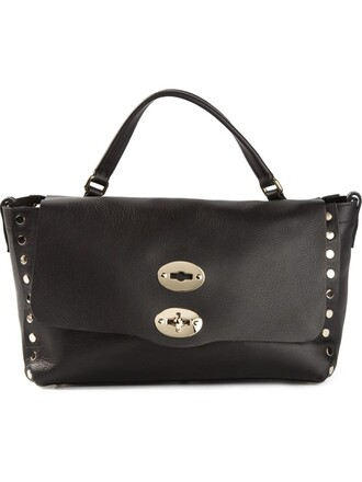 satchel studded women black bag