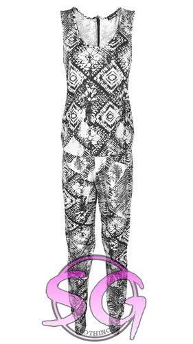 WOMENS LADIES CELEB TRIBAL AZTEC PRINT ZIP RACER BACK JERSEY JUMPSUIT DRESS TOP | Amazing Shoes UK