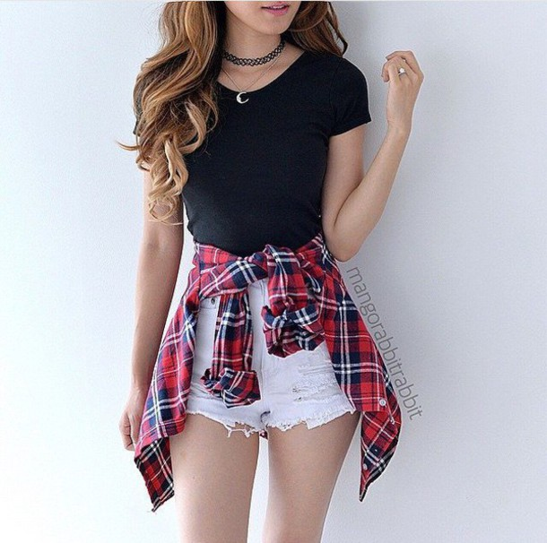 Top plaid shirt black summer black top crop tops black crop top flannel shirt denim ...