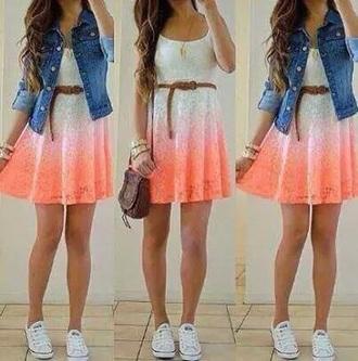 dress white orange lace tie dye dress denim jacket converse shoes coat shoes jacket