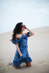 mypeeptoes,blogger,dress,shoes,blue dress,sneakers,converse,tumblr,floral,floral dress,off the shoulder,off the shoulder dress,spring outfits,spring dress