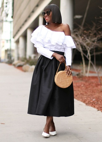 skirt midi skirt one shoulder top ruffle blouse round bag basket bag pumps blogger blogger style