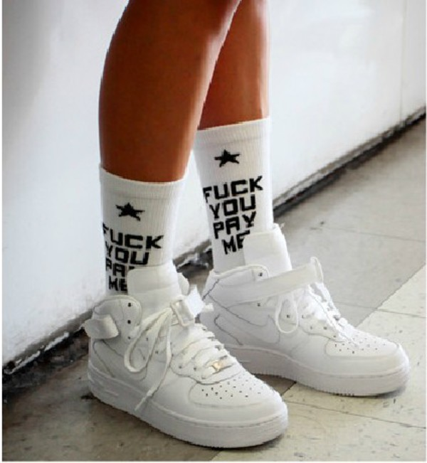 socks nike nike air force 1 fuck socks white shoes