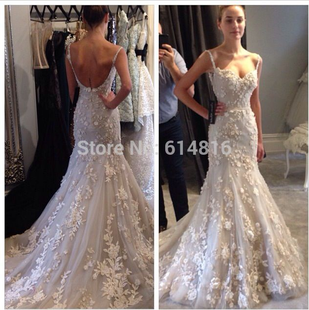 Aliexpress.com : Buy Lindo Sexy V neck Spaghetti Strap Sereia Backless Tulle Com Handmade Flores cyrstals apliques longo branco vestidos de casamento from Reliable vestido de noiva de tule suppliers on Suzhou Babyonlinedress Co.,Ltd