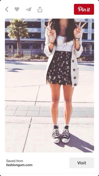 skirt floral cute outfit cardigan sweater skater skirt circle skirt cute outfits tumblr outfit white black short skirt knitted cardigan