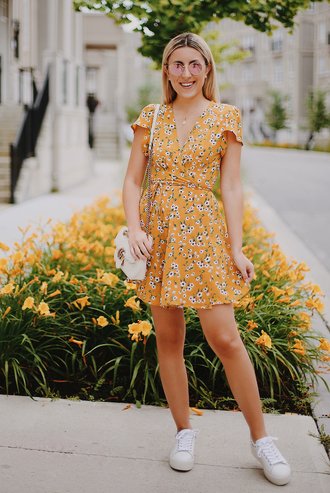 dress tumblr yellow yellow dress mini dress summer dress summer outfits sneakers low top sneakers bag shoes sunglasses