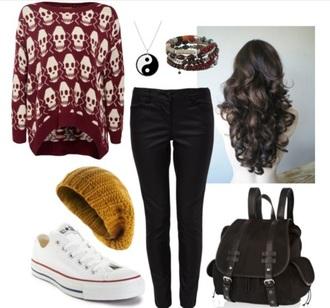 sweater skull sweater burgundy sweater