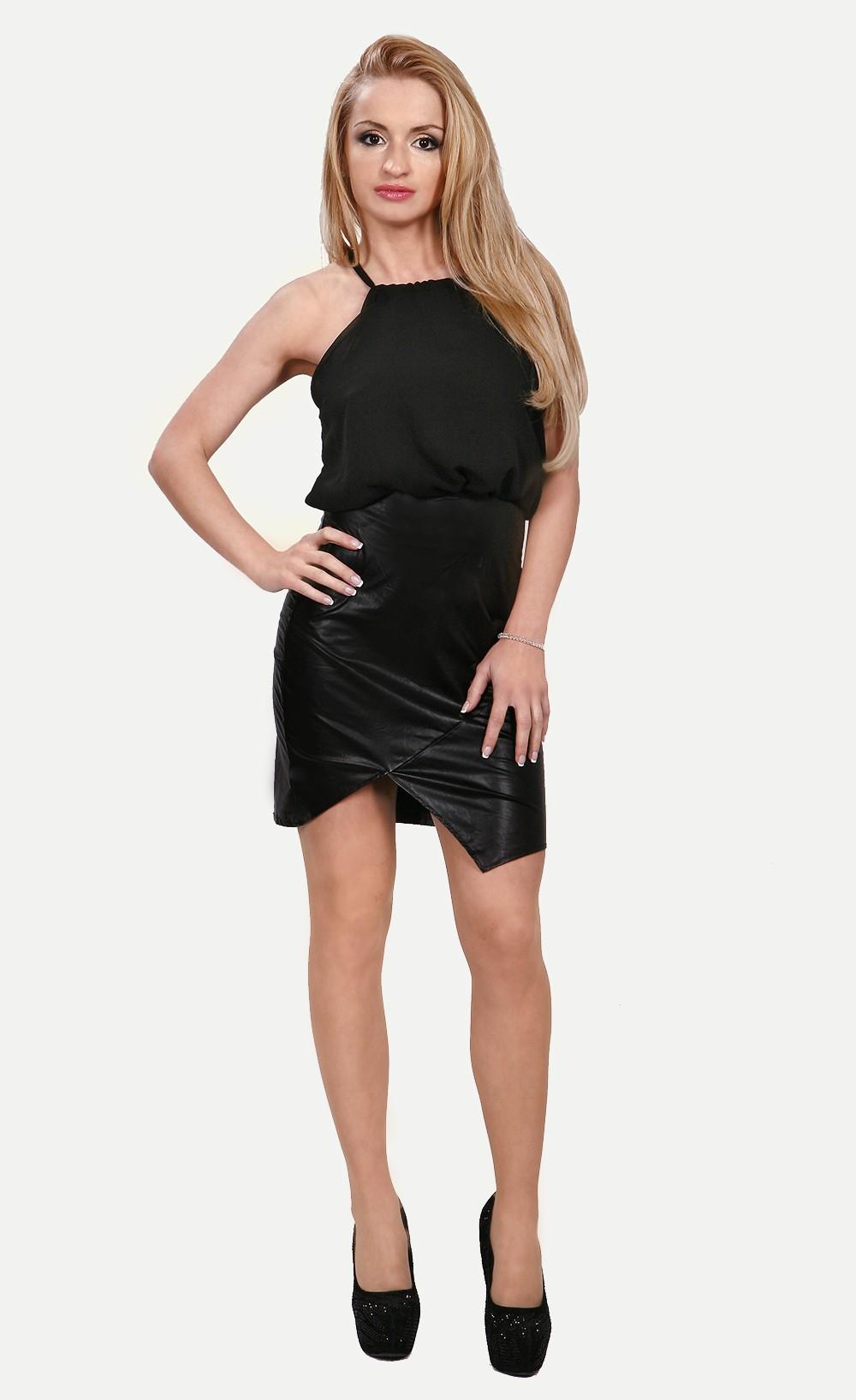 Black chiffon vinyl mini dress