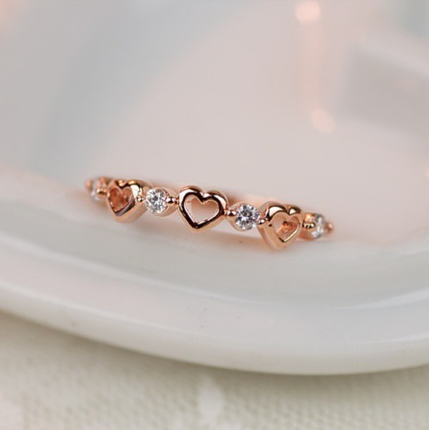 Jewels Ring Heart Promise Ring Rose Gold Ring Rose