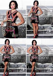 dress,demi lovato,the voice,short,short dress,prom,multicolor,prom dress,red dress,red lipstick,colorful,pumps,peter pilotto,louboutin