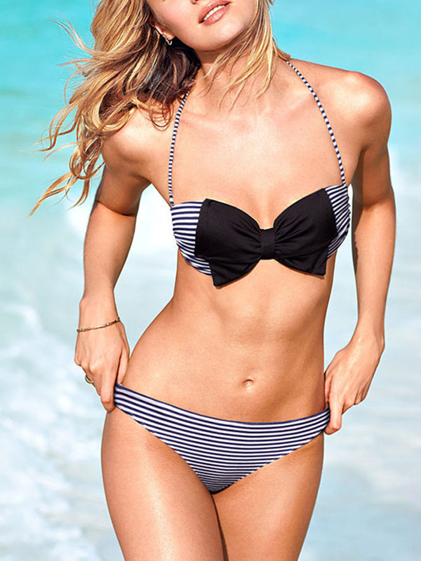 Bow Fashion Color Block Halter Top Bikinis : KissChic.com