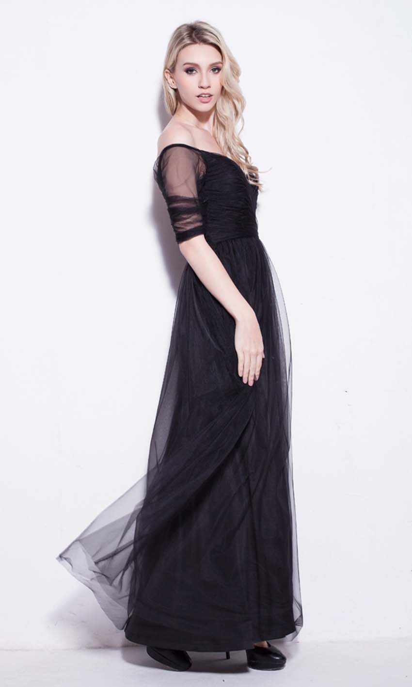 Black Net Off Shoulder Long Prom Dresses Uk Ksp250 Ksp250 9200