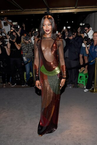 dress gown prom dress see through see through dress plunge neckline naomi campbell ny fashion week 2016 sequins sequin dress sexy dress