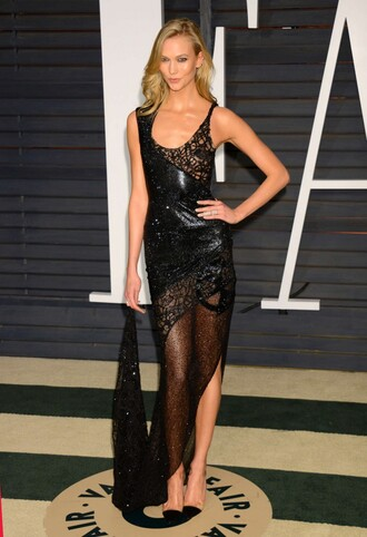 dress gown red carpet dress karlie kloss black sheer dress sheer shoes pumps