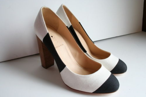 $250 JCrew Etta Canvas Stripe Pumps Size 8 Black White Heels Shoes | eBay