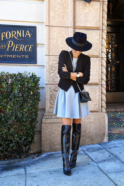 this time tomorrow blogger grey dress thigh high boots fedora winter dress jacket dress shoes hat bag jewels