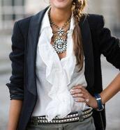 jewels,aztec style necklace,necklace,blouse,jacket,shirt,clothes,belt,blazer,black blazer,black wool blazer,leather lapel,leather blazer,wool blazer