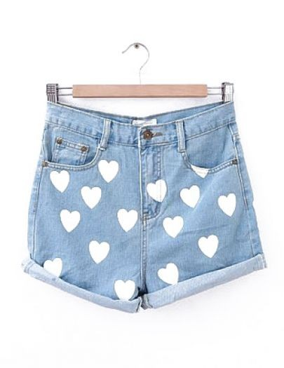 Blue High Waist Flanging Heart Print Denim Shorts