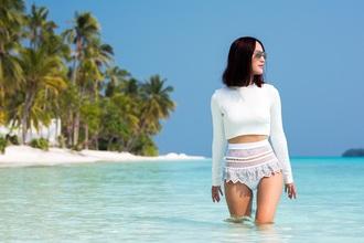swimwear high waisted bikini white swimwear