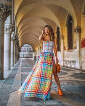 dress,long dress,multicolor dress,earrings,beautiful bags,shirt