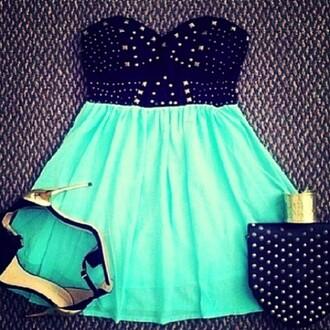 dress skater dress blue light blue strapless black diamonds