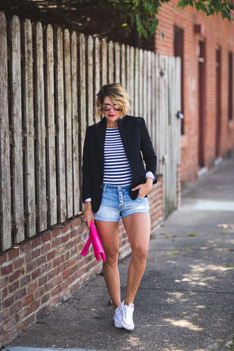 style archives - seersucker and saddles blogger shorts jacket shirt bag jewels stripes striped top black blazer aviator sunglasses pink sunglasses high waisted shorts white sneakers