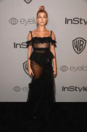 dress,lace dress,black lace dress,hailey baldwin,model off-duty,see through dress,see through,off the shoulder,black dress,Golden Globes 2018,jewels
