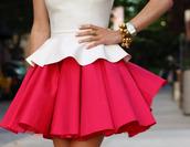 skirt,short skirt,pink skirt,clothes,hot pink,pink,peplum,shirt,dress,cute,classy,jewels,peplum top,white,bracelets,jewelry,t-shirt,skater,dress skirt? pink white,skater skirt,pink dress,short,love,nails