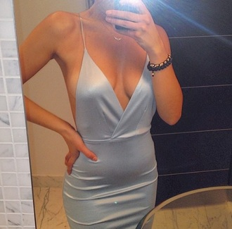 dress blue dress pretty backless backless dress silk silky satin beautiful satin dress